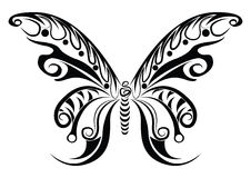 Butterfly tribal. Ideal for wallpaper or tattoo design. Could be useful in presentations, web and printing design Royalty Free Stock Photo