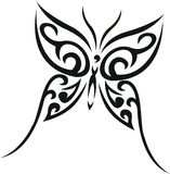 Butterfly tribal tattoo. Vector illustration Stock Photos