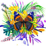 Butterfly, tropical leaves and exotic flower Stock Photo
