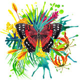 Butterfly, tropical leaves and exotic flower Stock Image