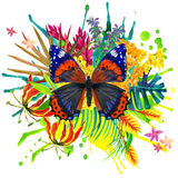 Butterfly, tropical leaves and exotic flower Royalty Free Stock Photos
