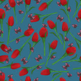 Butterfly tulip red seamless pattern Stock Photos