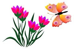Butterfly and Tulips. Pink Tulips with hovering butterfly illustration in slight relief style. Background is on a work path Stock Photo