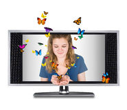 Butterfly tv Royalty Free Stock Photography