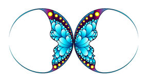 Butterfly with two face silhouette. Faces in butterfly wings. Abstract design Stock Images