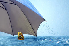 Butterfly under umbrella in rainy weather. On background sky royalty free stock image