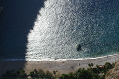 Butterfly valley beach. Butterfly valley high view canyon fethiye turkey Stock Photos