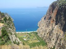 Butterfly valley deep gorge fethiye turkey. Butterfly valley high view canyon fethiye turkey Stock Image