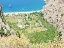 Butterfly valley deep gorge fethiye turkey. Butterfly valley high view canyon fethiye turkey Royalty Free Stock Image
