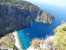 Butterfly valley deep gorge fethiye turkey. Butterfly valley high view canyon fethiye turkey Stock Photos