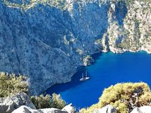 Butterfly valley deep gorge fethiye turkey. Butterfly valley high view canyon fethiye turkey Royalty Free Stock Images
