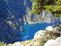 Butterfly valley deep gorge fethiye turkey. Butterfly valley high view canyon fethiye turkey Stock Photography