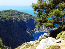 Butterfly valley deep gorge fethiye turkey. Butterfly valley high view canyon fethiye turkey Royalty Free Stock Photos