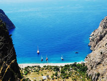 Butterfly valley deep gorge fethiye turkey. Butterfly valley high view canyon fethiye turkey Royalty Free Stock Photography