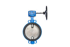 The butterfly valve. At warehouse butterfly valve isolated on white background Stock Images