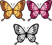 Butterfly Vector Illustration. Orange and Pink Butterfly Vector Illustration with Silhouette vector illustration