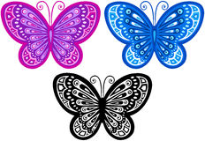Butterfly Vector Illustration. Purple and Blue Butterfly Vector Illustration with Silhouette royalty free illustration