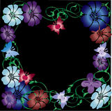 Butterfly vector illustration. Vector butterfly, flowers and vines illustration on a black background Royalty Free Stock Images