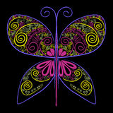Butterfly Vector illustration with abstract flowers Royalty Free Stock Photography