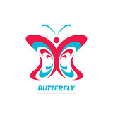 Butterfly vector logo concept illustration in flat style design. Decorative art Stock Photo