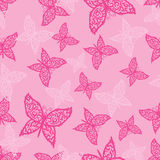Butterfly. Vector seamless pattern of beautiful butterflies on pink background Stock Image