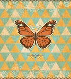 Butterfly vintage mosaic pattern Royalty Free Stock Image