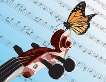 Butterfly on Violin. An illustration of part of a violin and butterfly on the scroll part of the violin done in Illustrator CS Royalty Free Stock Images