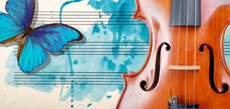 Butterfly, violin and notes. Blue morpho butterfly and violin. Melody concept. Photo of old music sheet in blue watercolor paint.