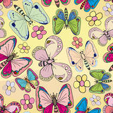 Butterfly, wallpaper. Butterflies fly over the flowers meadow , top view Stock Photography