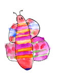 Butterfly watercolor. Childlike drawing of butterfly illustration stock image