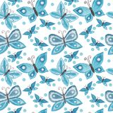 Butterfly watercolor seamless background. Hand drawn seamless pattern with butterfly Royalty Free Stock Images