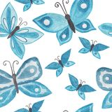 Butterfly watercolor seamless background. Hand drawn seamless pattern with butterfly Stock Photos