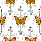 Butterfly Watercolor Seamless Pattern. Abstract techno seamless pattern with butterfly and geometric elements on white background. Modern wallpaper with royalty free illustration