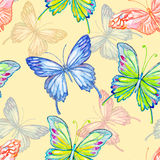 Butterfly. Watercolor seamless pattern. Stock Photography
