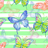 Butterfly. Watercolor seamless pattern. Stock Photo