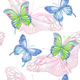 Butterfly. Watercolor seamless pattern. Stock Photos