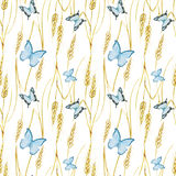 Butterfly and wheat pattern Stock Photos