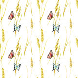 Butterfly and wheat pattern Stock Images