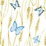 Butterfly and wheat pattern Royalty Free Stock Photo