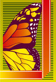 Butterfly wing. Vector Illustration of butterfly wing on lined background stock illustration