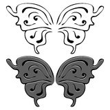 Butterfly wings. Set of illustrations. Black and painted wings Stock Image