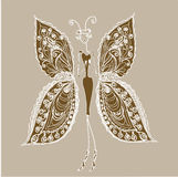 Butterfly - the woman of fashion. Royalty Free Stock Photos