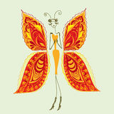 Butterfly - the woman of fashion. Abstract  image of a fashionable, stylish butterfly. Vector Stock Photo