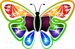 Butterfly woman logo Stock Photos