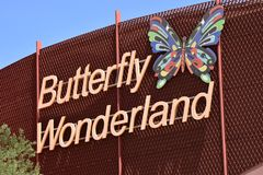 Butterfly Wonderland in Scottsdale Arizona. The sign on the Butterfly Wonderland building. A wonderful hands on experience with species from around the world stock photos
