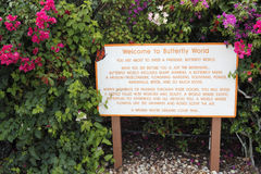 Butterfly World Entrance Information Sign Royalty Free Stock Image