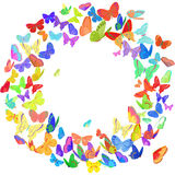 Butterfly wreath design element in bright colors Royalty Free Stock Photo