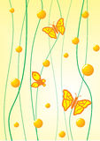 Butterfly on a yellow background. Insects flying butterflies on a yellow background with elements of abstraction Royalty Free Stock Photos
