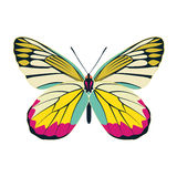 Butterfly yellow wing abstract on white background Stock Photo