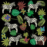 Butterfly zebra and tropical leaves pattern Stock Photos